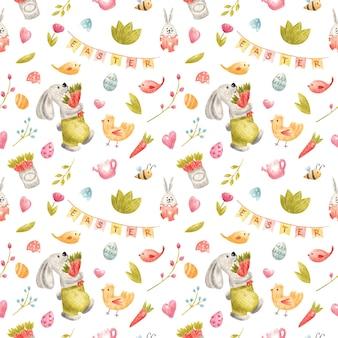 Reticolo senza giunte dell'acquerello con il coniglietto di pasqua su sfondo bianco primavera bambini illustrazione con uova fiori uccelli api per scrapbooking digitale di festa invintation bambini arredamento tessile design