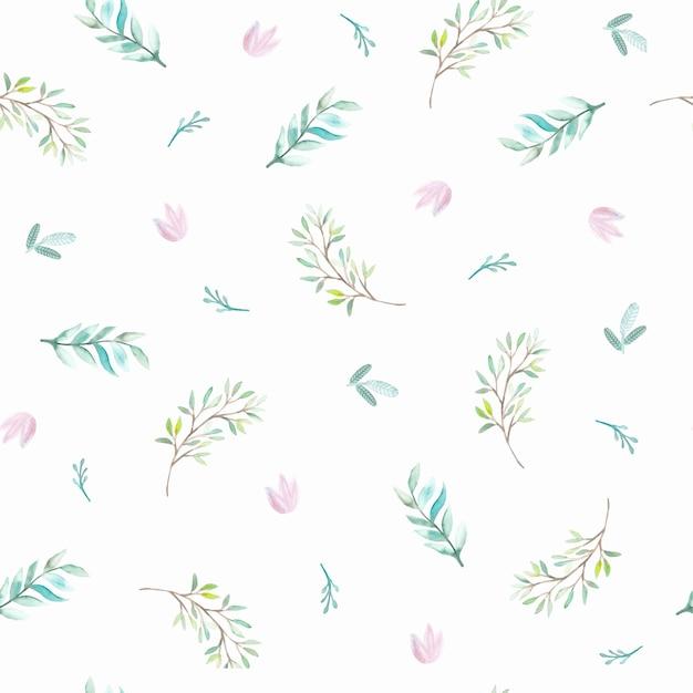 Reticolo senza giunte dell'acquerello con fiori e foglie. illustrazioni
