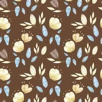 Reticolo senza giunte dell'acquerello con boccioli di fiori dorati, grandi fiori astratti e foglie su colore marrone