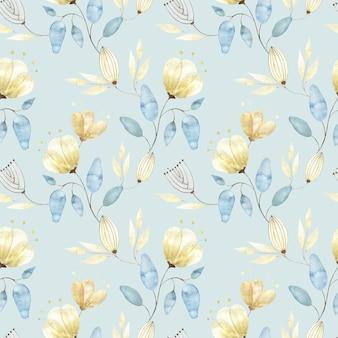 Reticolo senza giunte dell'acquerello con boccioli di fiori dorati, grandi fiori astratti e foglie su azzurro