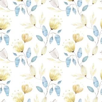 Reticolo senza giunte dell'acquerello con boccioli di fiori dorati, grandi fiori astratti e foglie su bianco