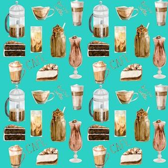 Reticolo senza giunte dell'acquerello con illustrazioni della tazza di caffè