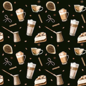 Reticolo senza giunte dell'acquerello con illustrazioni di caffè