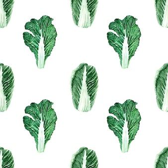 Reticolo senza giunte dell'acquerello con immagini di vari tipi di cavolo. teste e foglie di pechino e cavolo bianco