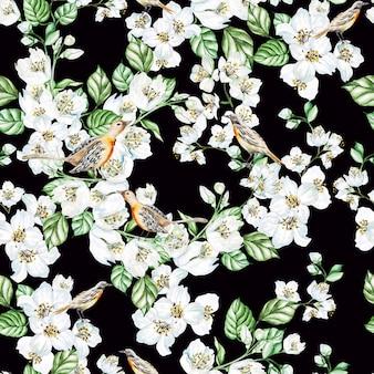 Reticolo senza giunte dell'acquerello con fiori di gelsomino, uccelli. illustrazione