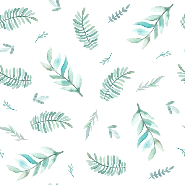 Reticolo senza giunte dell'acquerello con foglie. illustrazioni