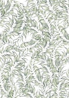 Reticolo senza giunte dell'acquerello con foglie di salice palma su sfondo bianco verde branch