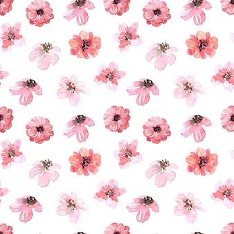 Modello senza cuciture dell'acquerello con fiori primaverili, gemme e ramoscelli con foglie