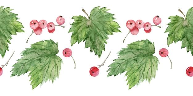 Reticolo senza giunte dell'acquerello con varie bacche e foglie