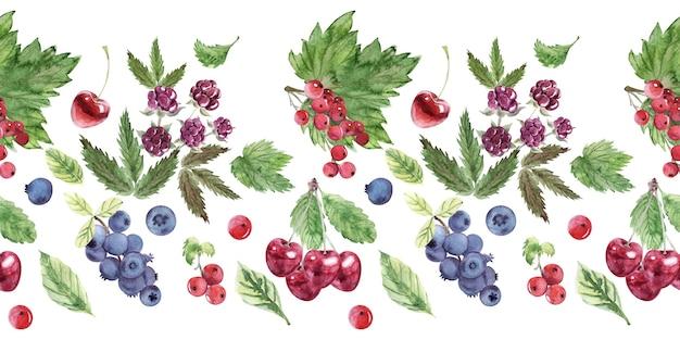 Reticolo senza giunte dell'acquerello con vari frutti di bosco