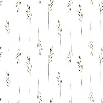Reticolo senza giunte dell'acquerello con erbe selvatiche di erbe di campo selvatico su sfondo bianco on