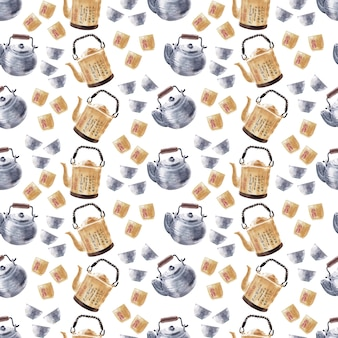 Modelli senza cuciture dell'acquerello sul tema del bere il tè