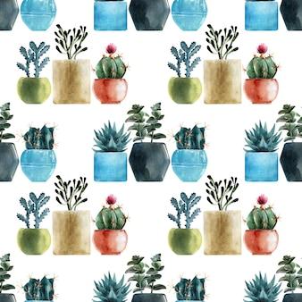 Modelli senza cuciture dell'acquerello con diversi tipi di cactus in vasi multicolori