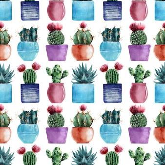 Modelli senza cuciture dell'acquerello con diversi tipi di cactus