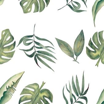 Reticolo senza giunte dell'acquerello foglie tropicali. carta digitale fogliame. carta da imballaggio floreale esotica. foglia di monstera, foglie di banana verde carta scrapbook. illustrazione disegnata a mano
