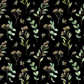 Modello di eucalipto seminato ad acquerello. foglie verdi. sfondo di rami di verde. illustrazione floreale.