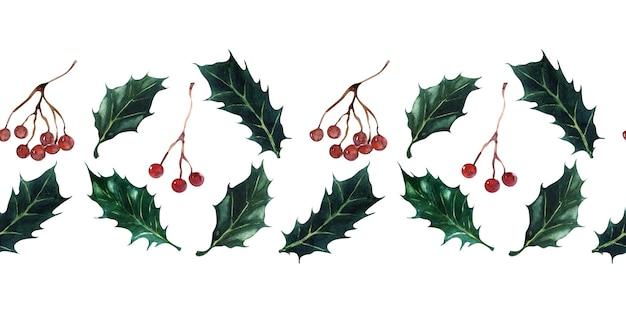 Set acquerello di bordi senza soluzione di continuità per temi festivi di capodanno e natale