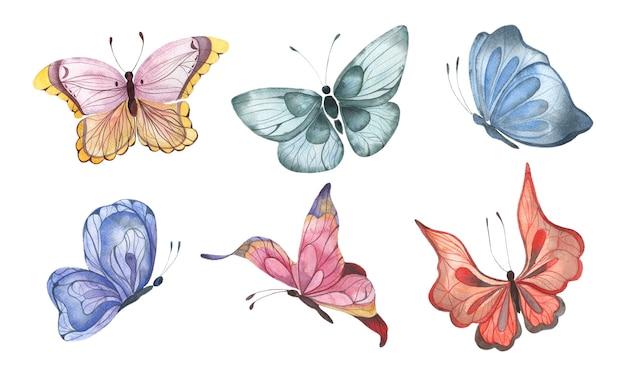 Insieme dell'acquerello con farfalle astratte colorate che volano elementi isolati di farfalle