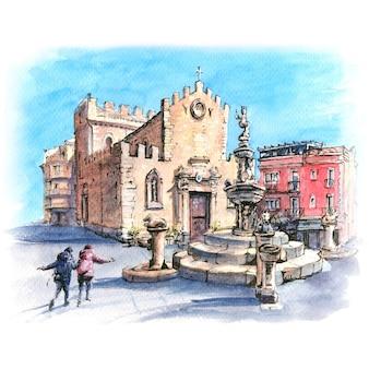 Schizzo ad acquerello del duomo di taormina e fontana sulla piazza piazza duomo a taormina, sicilia, italia