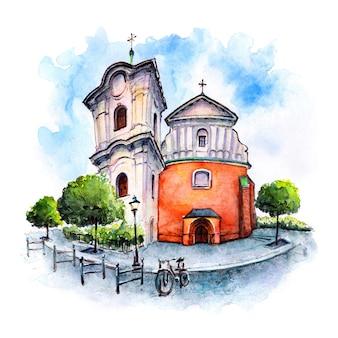 Schizzo ad acquerello della chiesa del sacro cuore di gesù a poznan polonia