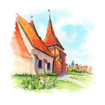 Schizzo ad acquerello della chiesa di san giovanni di gerusalemme fuori le mura a poznan polonia