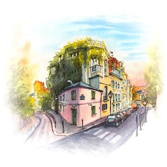 Schizzo dell'acquerello della vecchia strada accogliente con casa rosa nel quartiere di montmartre, parigi, francia.