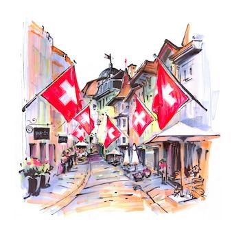 Abbozzo dell'acquerello di strada accogliente con bandiere svizzere nel centro storico di zurigo, svizzera