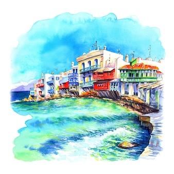 Schizzo ad acquerello di piccola venezia sull'isola mykonos l'isola dei venti grecia