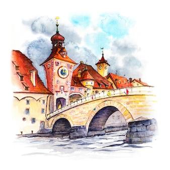 Schizzo ad acquerello della vecchia porta della città e del ponte di pietra stadtamhof regensburg baviera orientale germania