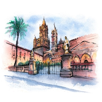 Schizzo dell'acquerello della cattedrale di palermo, sicilia, italia