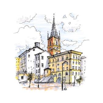 Schizzo ad acquerello di riddarholmen, gamla stan, nella città vecchia di stoccolma, capitale della svezia