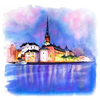 Schizzo ad acquerello di riddarholmen di notte, gamla stan nella città vecchia di stoccolma, la capitale della svezia