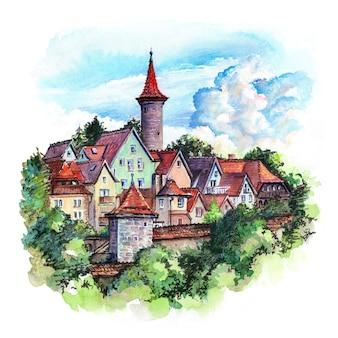 Schizzo ad acquerello del muro della città, pittoresche facciate colorate e tetti della città vecchia medievale di rothenburg ob der tauber, baviera, germania