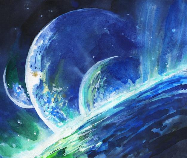 Spazio dell'acquerello, nebulosa, pianeta.
