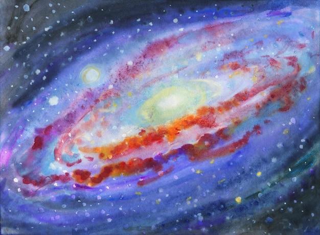 Spazio dell'acquerello, nebulosa, stelle.