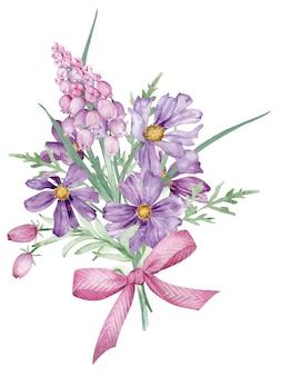 Bouquet di primavera dell'acquerello con fiori viola e rosa decorati con un fiocco rosa a strisce