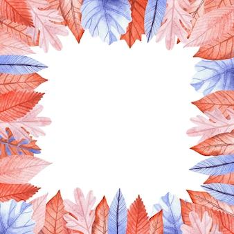 Cornice quadrata acquerello fatta di foglie autunnali arancioni e blu