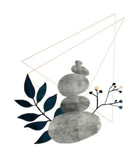 Piramide di pietre dell'acquerello e elementi del triangolo della geometria del ramo disegnati a mano concetto di consapevolezza