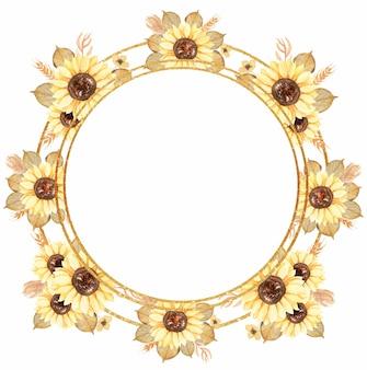 Clipart di ghirlanda di girasole dell'acquerello, cornice floreale, clipart di verde, bouquet di fiori gialli stampa, invito a nozze, logo desig