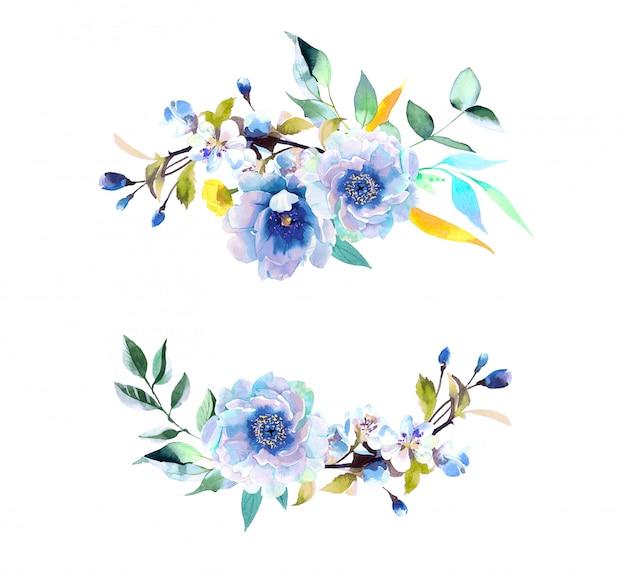 Illustrazione di girasoli e peonie dell'acquerello