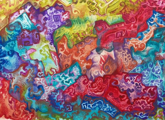 Acquerello tribale stile boho sfondo texture pennello pittura disegno artistico vintage tessuto africano ...