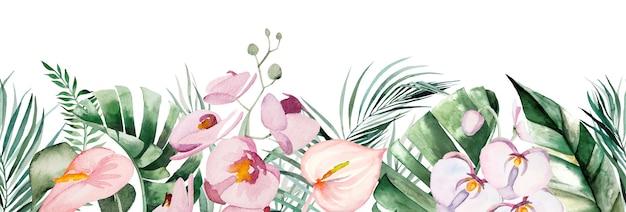 Illustrazione senza cuciture del confine del mazzo delle foglie e dei fiori tropicali dell'acquerello