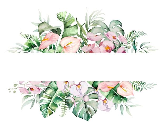 Illustrazione geometrica del telaio dei fiori e delle foglie tropicali dell'acquerello