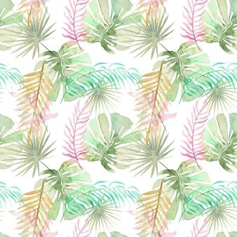Reticolo senza giunte delle foglie di palma tropicale dell'acquerello. foglia di palma verde e rosa