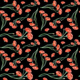 Modello senza cuciture dei papaveri rossi dell'annata dell'acquerello