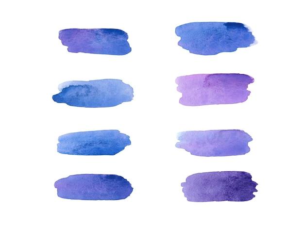 Set di campioni di colore viola viola e blu dell'acquerello pennellate colorate su bianco