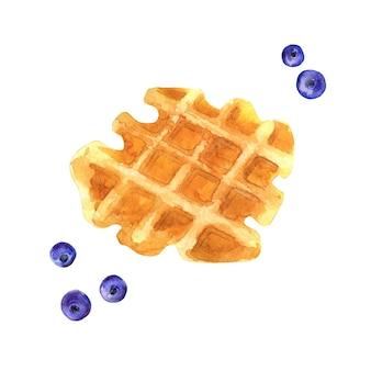 Waffle acquerello con mirtilli