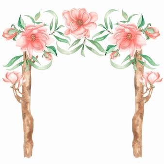 Decorazione di nozze dell'acquerello con fiori di peonia e magnolia. elemento di matrimonio in legno disegnato a mano