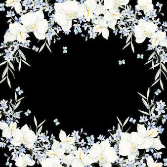 Cornice rotonda fiori bianchi acquerello su sfondo nero