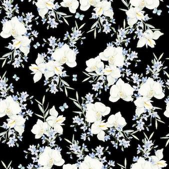 Cornice di fiori acquerello bianco e azzurro su sfondo nero